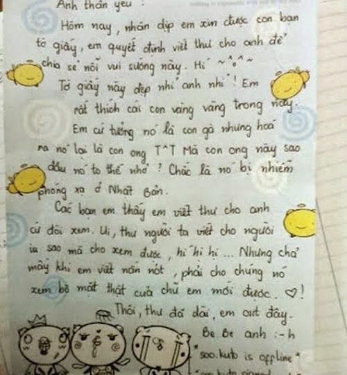 Viết thư cho người yêu vì xin được giấy quá đẹp.