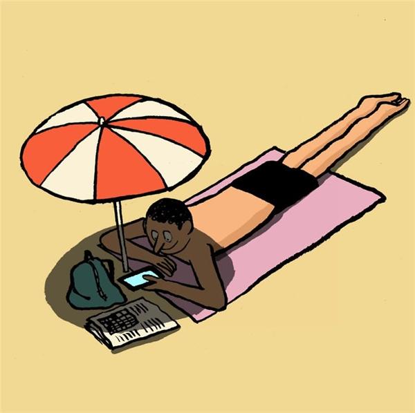 Sẵn sàng chui vào dù khi tắm nắng chỉ để sử dụng điện thoại. (Ảnh: Internet)