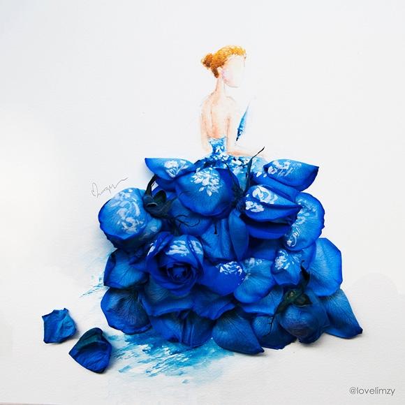 Bộ váy được tạo nên từ những cánh hoa hồng xanh với cấu trúc phân tầng bắt mắt.