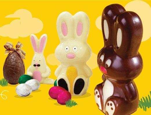 Những linh vật đặc trưng trong dịp lễ Phục Sinh như trứng và thỏ Phục Sinh cũng được khắc họa một cách đáng yêu tạiChocolate Graphics.