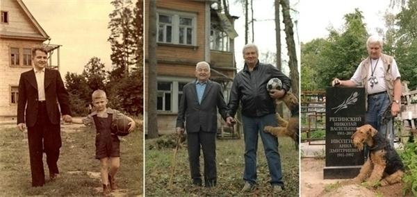 Hình ảnh người bố và người con trai qua năm tháng.
