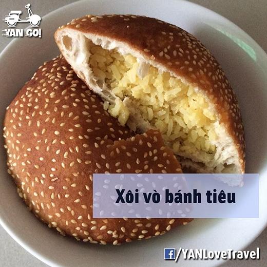 Xôi vò ăn cùng bánh tiêu chắc chỉ có ở Phan Thiết. (Ảnh: Internet)