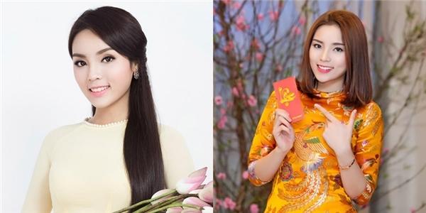 Kỳ Duyên cũng có màn lột xác đầy ngoạn mục với tóc bob thẳng chấm ngang vai. Bên cạnh đó, màu tóc nhuộm cũng giúp gương mặt Hoa hậu Việt Nam 2014 trông tươi tắn, rạng rỡ hơn.