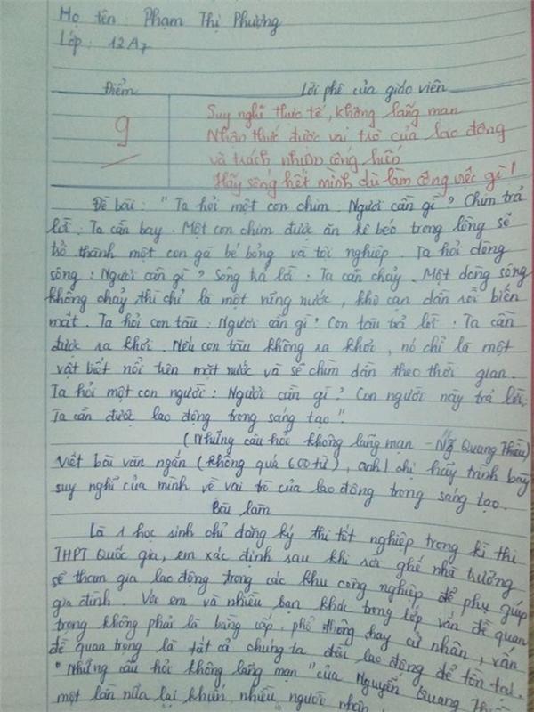 Bài văn đạt 9 điểm của Phạm Thị Phượng.