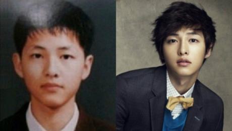 Song Joong Ki thời đi học (trái) và hiện tại