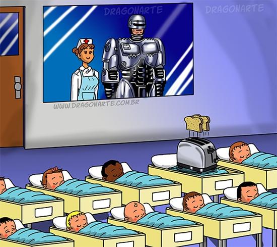 """Con của Người Máy (Robot Man) là gây sốc và dễ thành... """"hiện tượng mạng"""" nhất thì phải?! Lại còn hữu dụng vào mỗi sáng nữa. (Ảnh: Dragonarte)"""