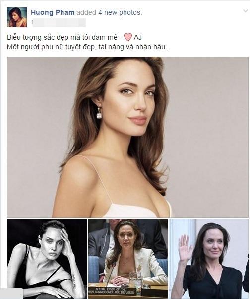Phạm Hươngvừađăng tải một loạt hình ảnh đẹp đến ngỡ ngàng của nữ diễn viên Angelina Jolie. Được biết đây chính là biểu tượng sắc đẹp mà cô đam mê và luôn muốn hướng đến. - Tin sao Viet - Tin tuc sao Viet - Scandal sao Viet - Tin tuc cua Sao - Tin cua Sao