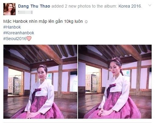 """Mới đây, trên trang cá nhân của mình, Đặng Thu Thảo đã khoe ảnh mình mặc Hanbok của xứ sở kim chi. Trong trang phục màu hồng nhẹ nhàng, """"thần tiên tỉ tỉ"""" của chúng ta toát lên một nét đẹp thuần khiết, dịu dàng không thua gì các mĩ nhân Hàn. Cô nàng còn hào hứng bông đùa rằng trông cô như mập hơn 10kg khi mặc loại trang phục truyền thống này. - Tin sao Viet - Tin tuc sao Viet - Scandal sao Viet - Tin tuc cua Sao - Tin cua Sao"""