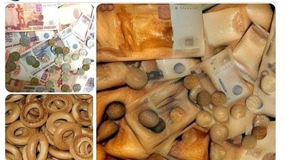 Bánh mì kết hợp với tiền giấy và tiền xu tạo nên một bức ảnh kỳ lạ.