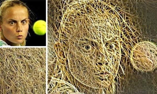 Nữ vận động viên quần vợt được tạo bằng những sợi rơm.