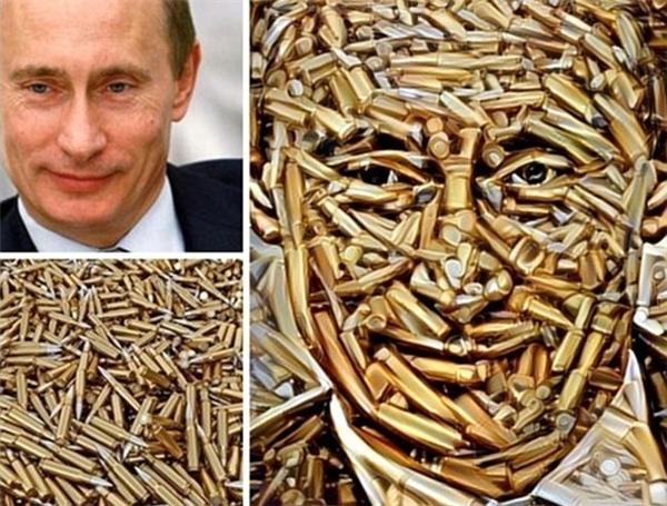 Tổng thống Nga Vladimir Putin với khuôn mặt được tạo bởi đạn khi sử dụng ứng dụng thú vị của Nga.