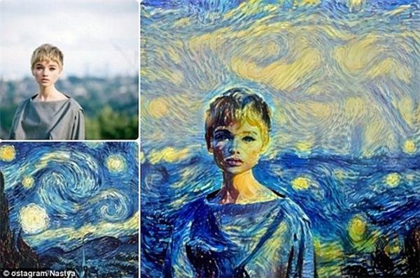 Màu sắc từ bức tranh Vincent Van Gogh của Starry Night kết hợp với một người mẫu ảnh tạo nên một bức tranh chân dung tuyệt diệu.