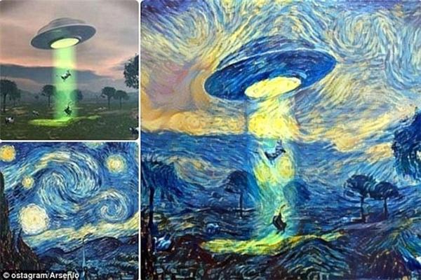 Đĩa bay UFO bắt cóc người phiên bản This Starry Night.