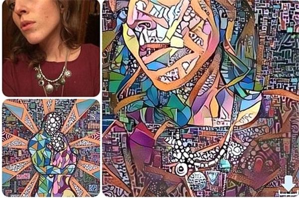 Một bức ảnh selfie đơn thuần trở thành một tác phẩm nghệ thuật độc đáo khi kết hợp với một bức tranh trừu tượng.