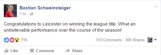 Tiền vệ Schweinsteiger cũng gửi lời chúc mừng đến Leicester.