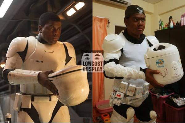 Nồi cơm điện không chỉ có công dụng nấu cơm mà còn giúp bạn hóa trang thành một Stormtrooper đấy. (Ảnh: Lowcostcosplay)