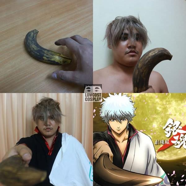 Hóa ra cái thứ Gintoki vẫn hay cầm trong tay không phải kiếm mà là... chuối?! (Ảnh: Lowcostcosplay)