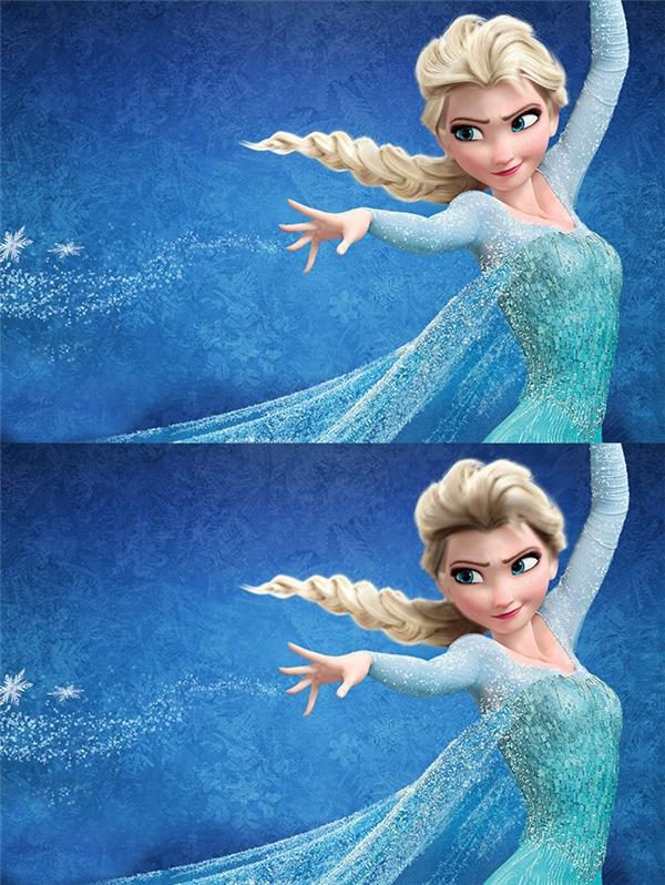 Elsa không phải là vàng hoe tự nhiên mà là tóc nhuộm, phần chân tóc màu đen lộ rõ cả ra bên ngoài.
