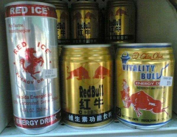 Bạn có thấy điều gì đó sai sai trên lon RedBull này không? Hẳn nước tăng lực RedBull phải cạnh tranh dữ dội với các nhãn hàng như Vitality Bull hay Red Ice.