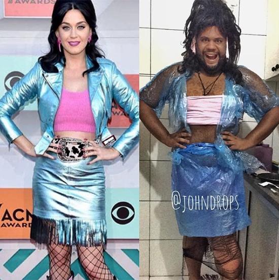 Bộ trang phục của Katy Perry được tái hiện qua túi ni lông và vải bóng. Hiện tại, trang Instagram của chàng trai này đã có hơn 500 nghìn lượt theo dõi nhờ những sáng tạo không đụng hàng này.