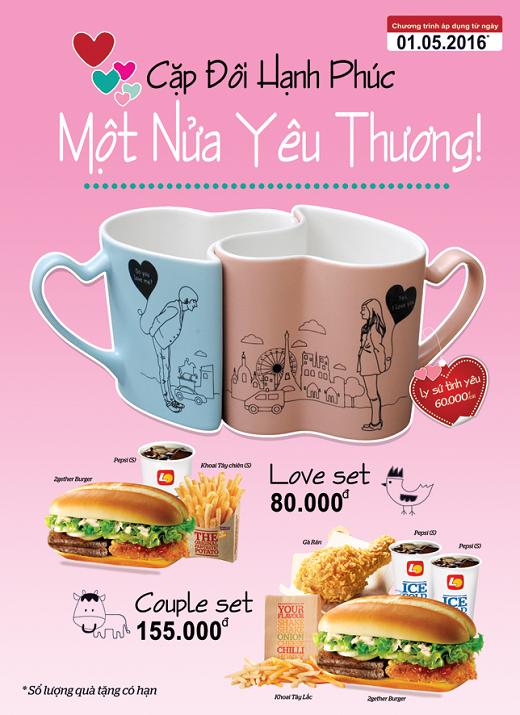 Các cặp đôi sẽ nhận được những chiếc ly sứ tình yêu dễ thương và độc đáo vô cùng khi mua phần ăn Love set hoặc Couple set tại Lotteria từ ngày 01/05 nhé!