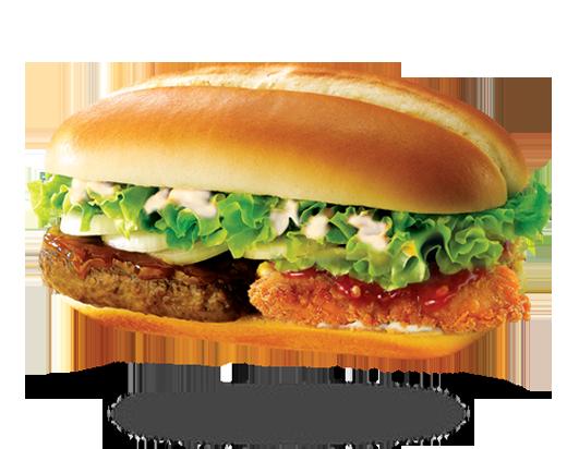 Burger 2gether hoàn toàn mới, là sự kết hợp hoàn hảo giữa thịt bò Australia thơm mềm và thịt gà philê đậm vị cùng ba loại sốt đặc trưng, phủ rau xà lách tươi ngon. (Ảnh: Internet)