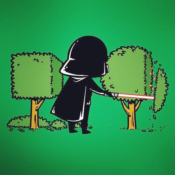 Thanh gươm ánh sáng lightsaber thần thánh có thể cắt được mọi thứ sẽ giúp Darth Vader ổn định đến cuối đời với công việc tỉa cây cắt cỏ.