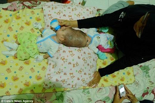 Trong khi bé này ngủ thì bé kia lại đòi ăn