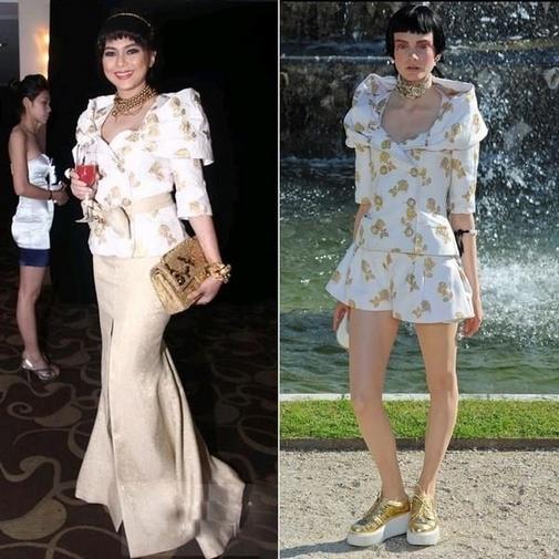 Nữ diễn viên Thủy Tiên (mẹ chồng Hà Tăng) đã cách điệu bộ trang phục đắt đỏ của Chanel. Tuy nhiên, phiên bản hoàn toàn lỗi so với bản gốc.