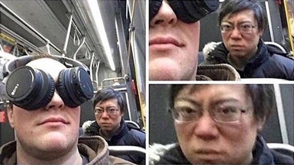 Dùng tai nghe làm mặt nạ che mắt để ngủ trên xe buýt sao? Có người không vừa lòng rồi đấy. (Ảnh: Internet)