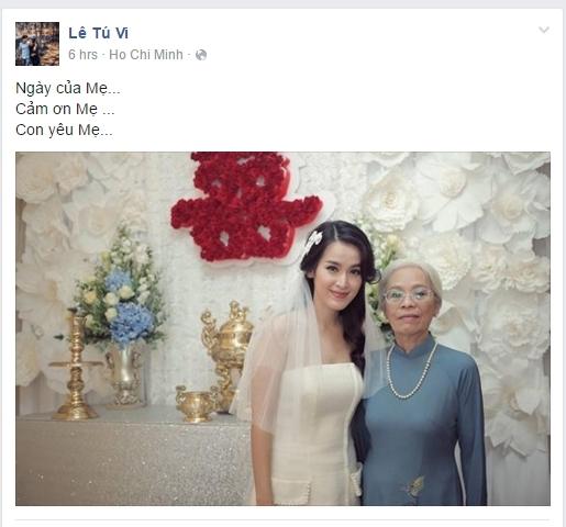 """Tú Vi gửi lời nhắn nhủ đơn giản mà ý nghĩa tới mẹ của cô. Nữ diễn viên viết: """"Ngày của mẹ...Cảm ơn mẹ ...Con yêu mẹ..."""" - Tin sao Viet - Tin tuc sao Viet - Scandal sao Viet - Tin tuc cua Sao - Tin cua Sao"""