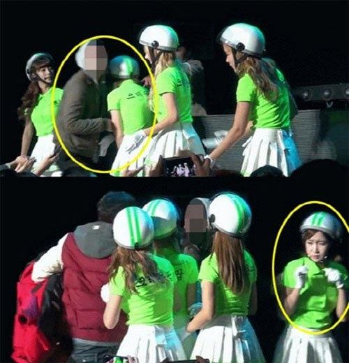 Thành viên ChoA trong nhóm Crayon Pop sợ hãi khi bị một fan nam đòi ôm.