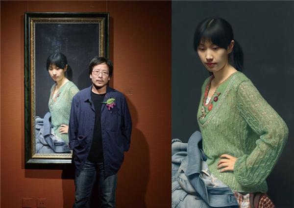 Tác giả Leng Jun bên cạnh tuyệt tác rúng động giới hội họa toàn thế giới