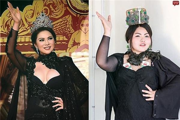 """Vẻ đẹp của hoa hậu Boom là khó """"bắt chước"""" nhất nhưng Sine đã thực hiện rất thành công nhờ 2 miếng độn ngực là... hai hộp sữa. (Ảnh: Internet)"""