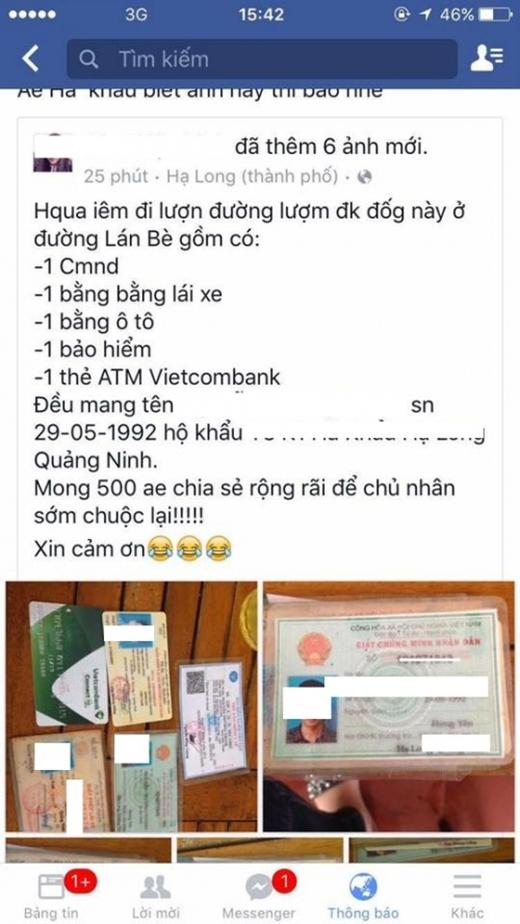Ban đầu cô gái tỏ ra tốt bụng, đăng tin tìm chủ nhân của chiếc ví bị đánh rơi. (Ảnh: Internet)