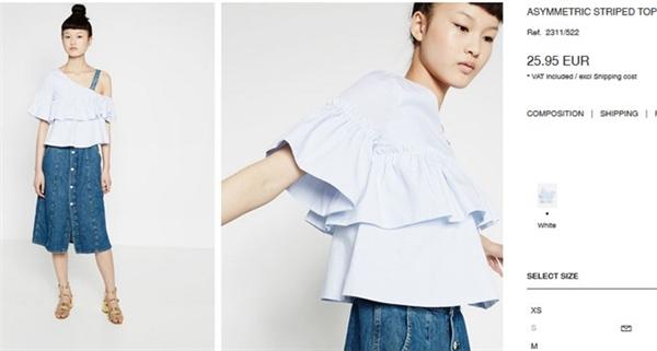 Áo trễ vai, dún bèo với sắc xanh lơ nhẹ nhàng có giá khoảng 650 ngàn được Minh Hằng kết hợp đồng điệu với quần jeans denim cổ điển.