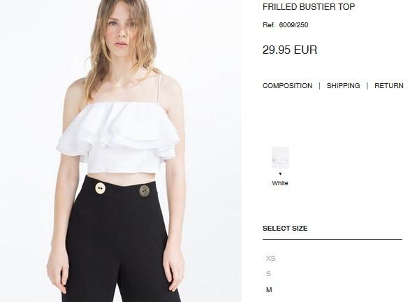 700 ngàn là số tiền mà Minh Hằng phải chi để sở hữu chiếc áo crop top dún bèo vừa điệu đà, vừa gợi cảm. Với mẫu trang phục này, các cô gái có thể kết hợp cùng quần legging hay chân váy bút chì,váy xòe điệu đà.