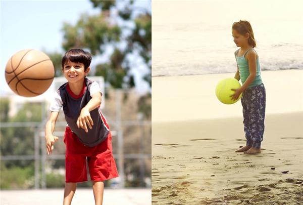 Ném bóng: con trai thường giơ bóng lên cao khỏi đầu rồi ném, còn con gáihay để bóng thấp dưới hông rồi hất lên cao bằng cả hai tay.