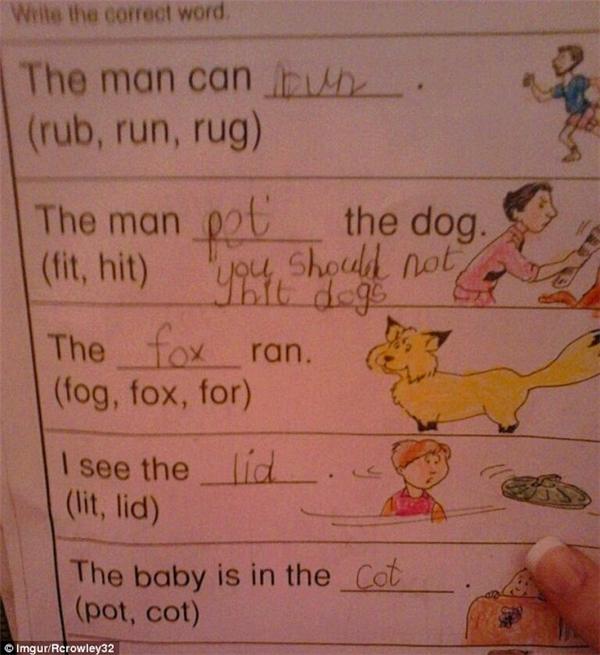 """""""Bạn không nên đánh chó"""" chắclà lời nhắn nhủ của một học sinh tới thầy giáo và cả người biên soạn sách giáo khoa luôn, sau khi đã cố tình thay đổi đáp án của bài tập về nhà từ """"hit""""thành """"Pet"""". (Ảnh: Dailymail)"""