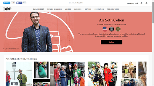 Blog thời trang của Ari Seth Cohen. (Ảnh: Internet)