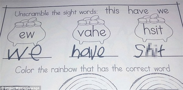 """Có lẽ giáo viên đã rất khó xử với đáp án: """"Shit"""" thay vì """"This"""", khi giao bài tập sắp xếp lại các chữ cái thành 1 từ có nghĩa. (Ảnh: Dailymail)."""