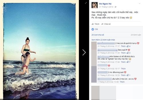 Một bức ảnh hai mẹ con Hà Hồ tung tăng tắm biển nhận được hơn 15.000 like từ cộng đồng mạng. - Tin sao Viet - Tin tuc sao Viet - Scandal sao Viet - Tin tuc cua Sao - Tin cua Sao