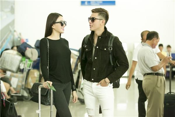 Lê Hà tại sân bay ngày hôm qua.