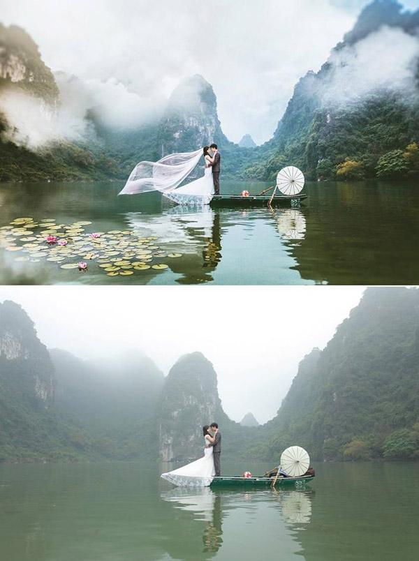 Khung cảnh vịnh Hạ Long mờ mịt đã được chỉnh sửa màu sắc và sương mù đẹp hơn hẳn. (Ảnh: Enbi Tuyen)
