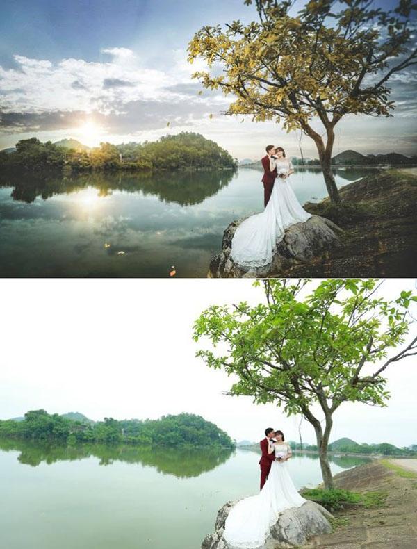 Màu sắc lá cây và bầu trời đã được sửa lại trông ảo diệu khó tả. (Ảnh: Enbi Tuyen)