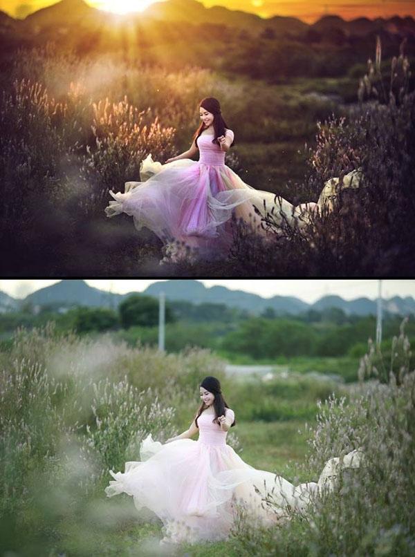 Chiếc áo hồng của cô dâu có màu sắc trông đậm đà hơn hẳn. (Ảnh: Enbi Tuyen)