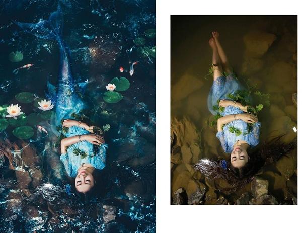 Cô dâu cũng có thể trở thành nàng tiên cá xinh đẹp giữa đầm sen và những chú cá koi. (Ảnh: Enbi Tuyen)