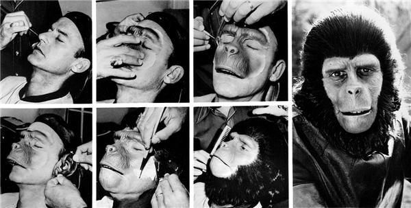 Quá trìnhđắp mặt nạ tinh tinh trong bộ phim Planet of the Apes.(Ảnh: Internet)