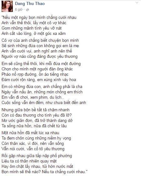 Tuy nhiên, mới đây cựu hoa hậu lại làm dư luận hoang mang khi bất ngờ đăng tải bài thơ buồn, nói về sự tan vỡ của tình yêu. - Tin sao Viet - Tin tuc sao Viet - Scandal sao Viet - Tin tuc cua Sao - Tin cua Sao