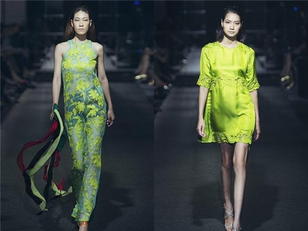 Chiếc cổ yếm của người phụ nữ xưa đã được Hà Linh Thư biến tấu hài hòa trong loạt trang phục hiện đại, tao nhã.